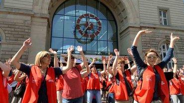 Flashmob am vierten Streiktag