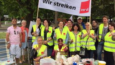 Kaufland Mannheim beim Streikfrühstück