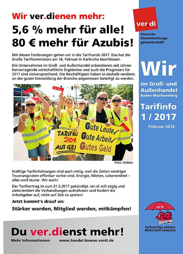 Wir im Groß- und Außenhandel Baden-Württemberg - Tarifinfo 1/2017