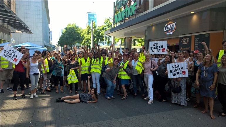 Streik am 6. Juli 2017 bei Kaufhof P1 in Mannheim