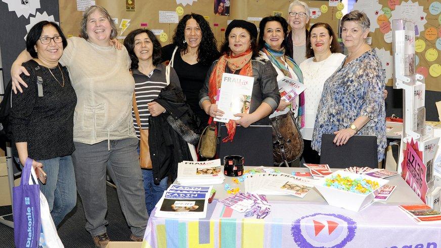 Beim Neujahrsempfang  2018 der Stadt Mannheim beteiligten sich die ver.di-Frauen des Bezirks Rhein-Neckar mit einem Infostand