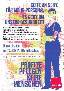 Profite pflegen keine Menschen - Aufruf zum Warnstreik am 12./13. März