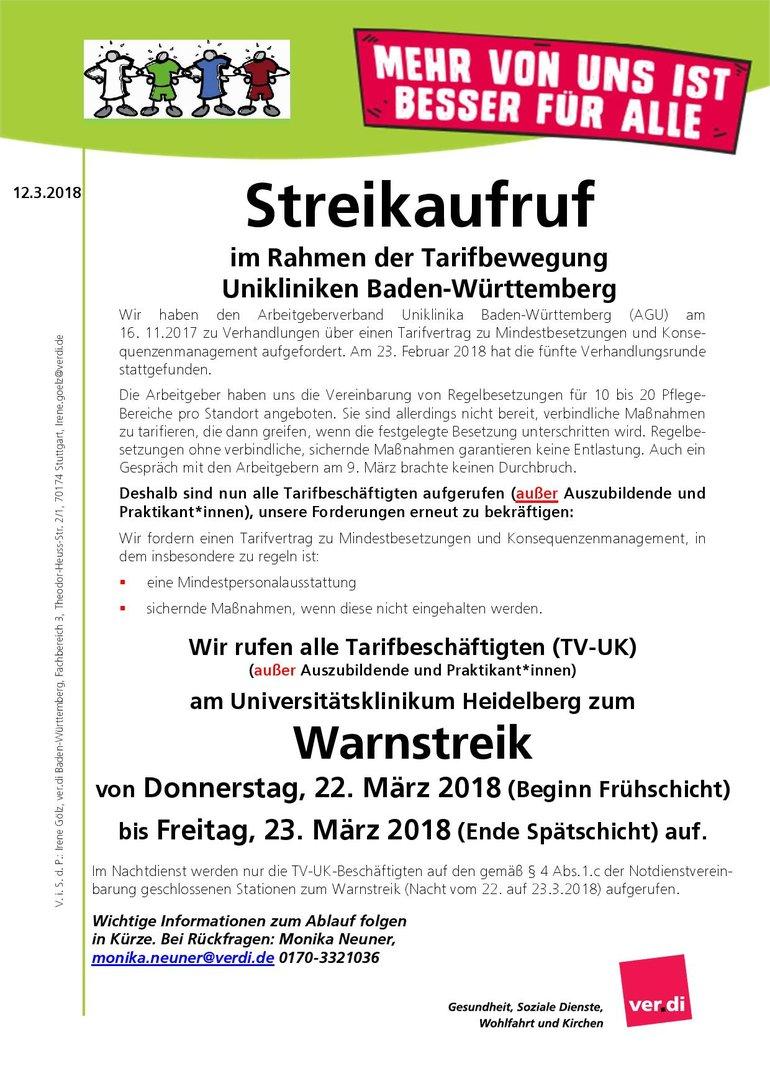 Streikaufruf Uniklinik HD am 22. und 23. März 2018