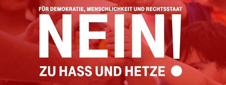 Logo: Nein zu Hass und Hetze! Für Demokratie, Menschlichkeit und Rechtsstaat