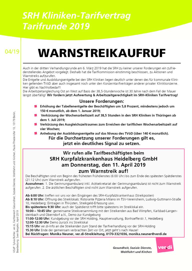 SRH-Warnstreikaufruf 11. April 2019