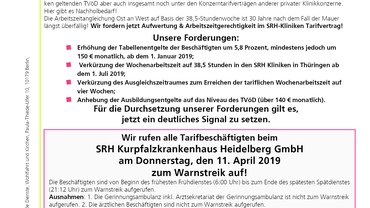 SRH-Warnstreikaufruf 11. April 2019