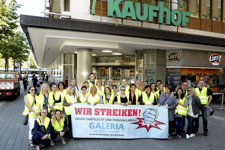 Kaufhof Mannheim P1 Paradeplatz streikt gegen Tarifflucht und Personalabbau