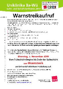 Warnstreikaufruf uWarnstreikaufruf für die Uniklinika in Baden-Württemberg