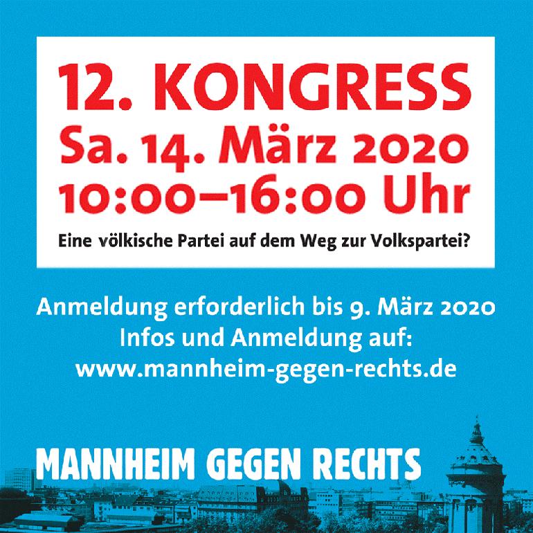 Kongress: Mannheim gegen Rechts am 14. März 2020 in Mannheim