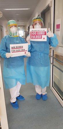 Beschäftige im Krankenhaus fordern: 500 Euro Corona-Prämie!