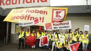 Streik bei Kaufland Mannheim am 6.7.2021